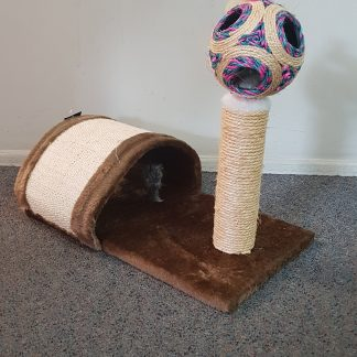 Single Pole Cat Playground Scratching Post With Ball and Tunnels