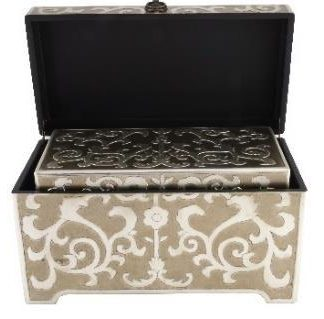 Everfine 2 x Floral Art Hand Crafted Boxes - Square w Handles