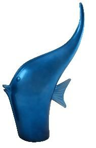Ceramic Fish Tall  - Blue