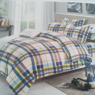 Double Doona Set 100% Cotton - Blue Brown Plad