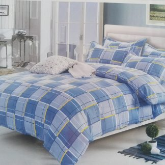 Double Doona Set 100% Cotton - Blue Yellow Check
