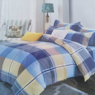 Double Doona Set 100% Cotton - Blue Yellow Plad