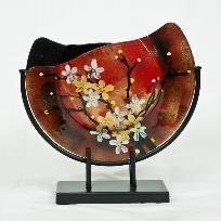 Fused Glass Full moon Vase  ON STAND Japanese Cherry Blossom