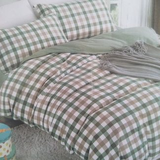 Queens Doona Sets 100% Cotton - Green/Beige Check
