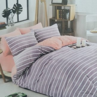 Queens Doona Sets 100% Cotton - Lilac/White Stripped