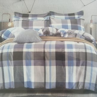 Double Doona Set 100% Cotton - Blue/Grey Plad