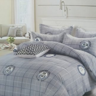 Queens Doona Sets 100% Cotton - Grey checked