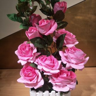 Artificial Rose Arrangement with Picket Fence various Colours