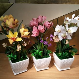 Artificial Boat Orchid Arrangement Various Colours