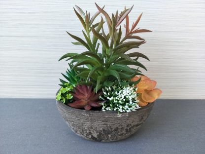 Artificial Wooden Pot  Succulent Flowers Arrangement