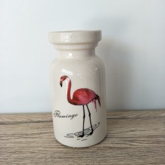 Ceramic Vase Flamingo Small Wide Round
