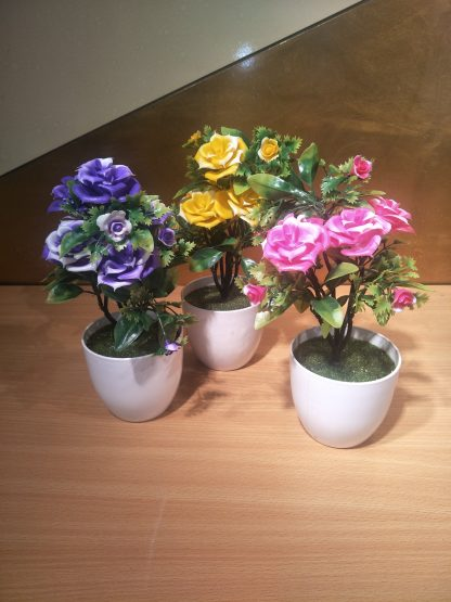 Artificial Large Rose with Round Vase