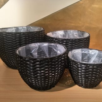 Round Plastic Baskets Round set 4 - Black