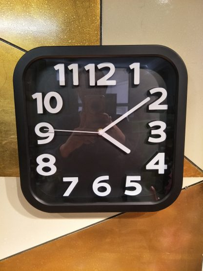 Square Clock With White Numbers