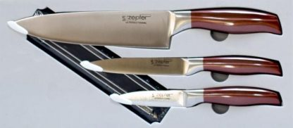 Masterpiece Stainless Steel 3 Piece Knife Set with Magnetic stand.