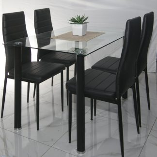 Top Max Glass Dining Table and 4 Slimline highback Black Chairs