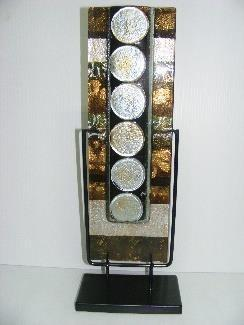 Fused Glass Pouch Vase Living Deco,  Gold Squares Silver Circles