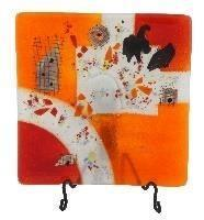 Fused Glass Square Platter Small Orange Delight
