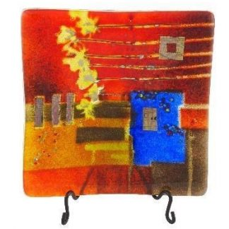Fused Glass Square Platter Small Japanese Scene