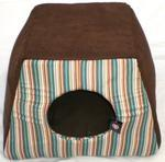 Portable Indoor Chocolate & Striped Bed House Transforms Into Multiple Size Beds With Removable Cushion