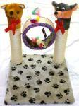 Dual Pole Cat Scratching Post with Mouse Ring Toys And 2 Scratching Post